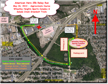 2013 Route Map American Hero 25k Relay Run