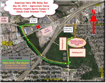 2013 Route Map American Hero 25k Relay Run